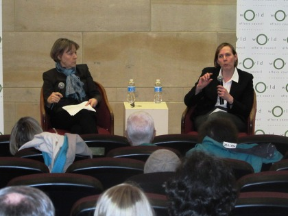Moderator, Dr. Heidi Hadsell and Speaker Dr. Ellen Lust