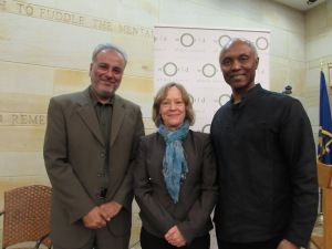 Panelist Saud Anwar, moderator Heidi Hadsell, and panelist Okey Ndibe